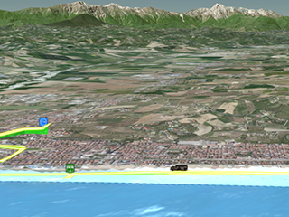 gps tracking trip animation 3d with charts and statistics