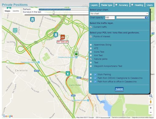 set points of interest (POI) in the GPS tracking platform