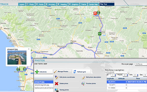 Upload in the tracking platform any geo-referenced photo or picture