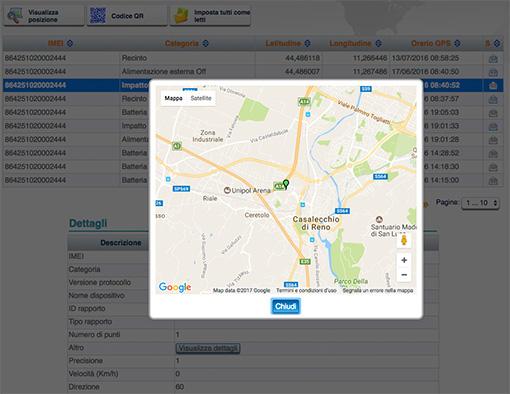 il localizzatore GPS è studiato per inviare avvisi immediati