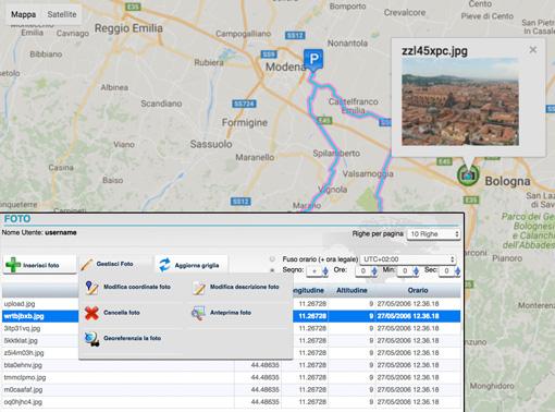 carica immagini e foto geo referenziate nella piattaforma di tracciamento