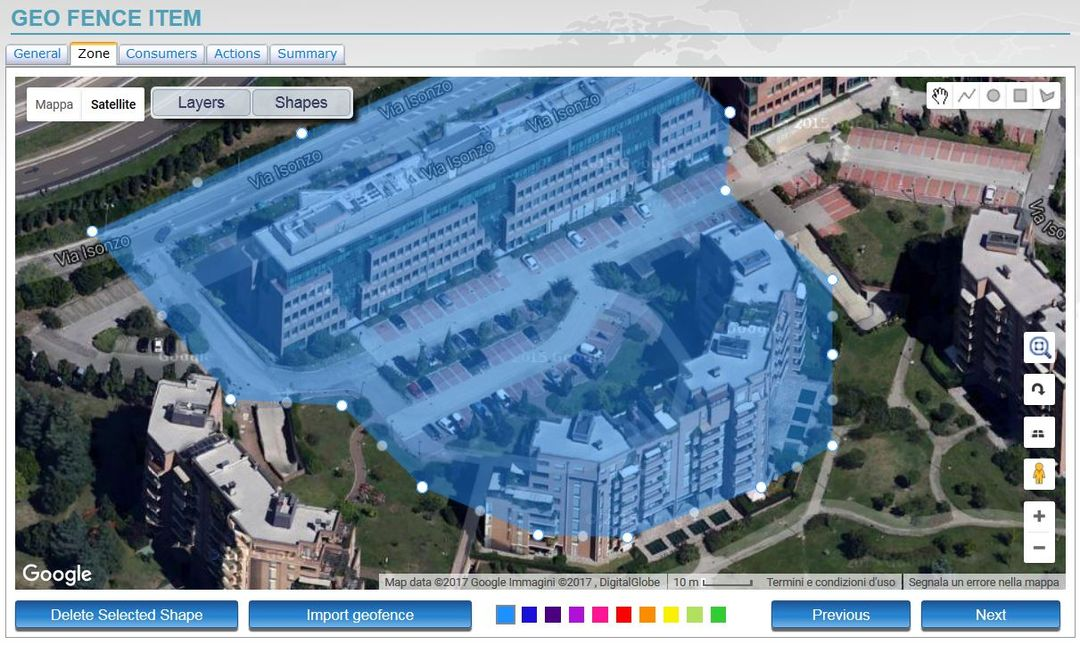 Set complex geofences and control them using Google Maps, Google Earth and Google Streetview