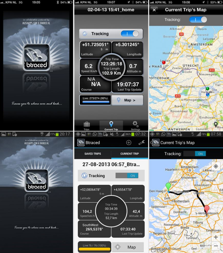 btraced app smartphone tracking gps cellulare iphone android