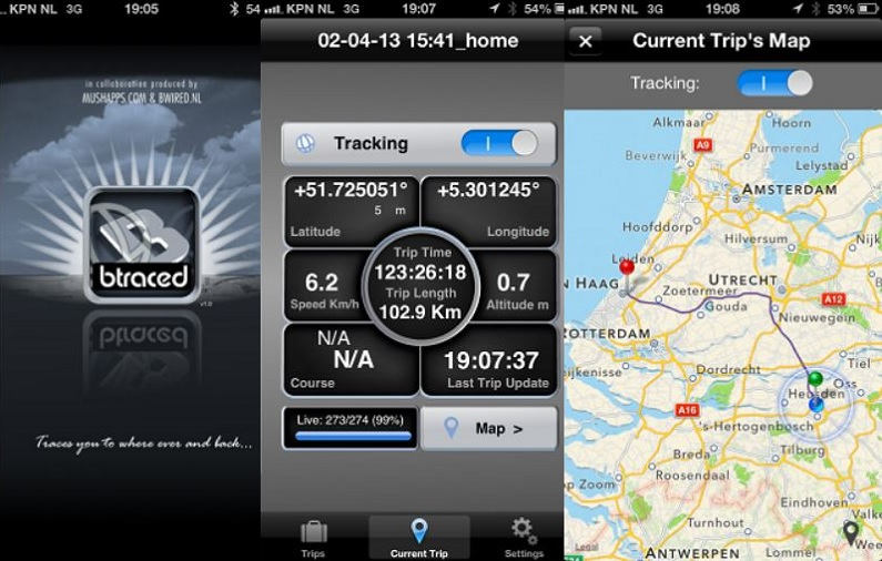 btraced tracking app smartphone android ios samsung iphone applicazione mobile per cellulare