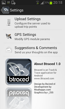 btraced tracking app per smartphone android
