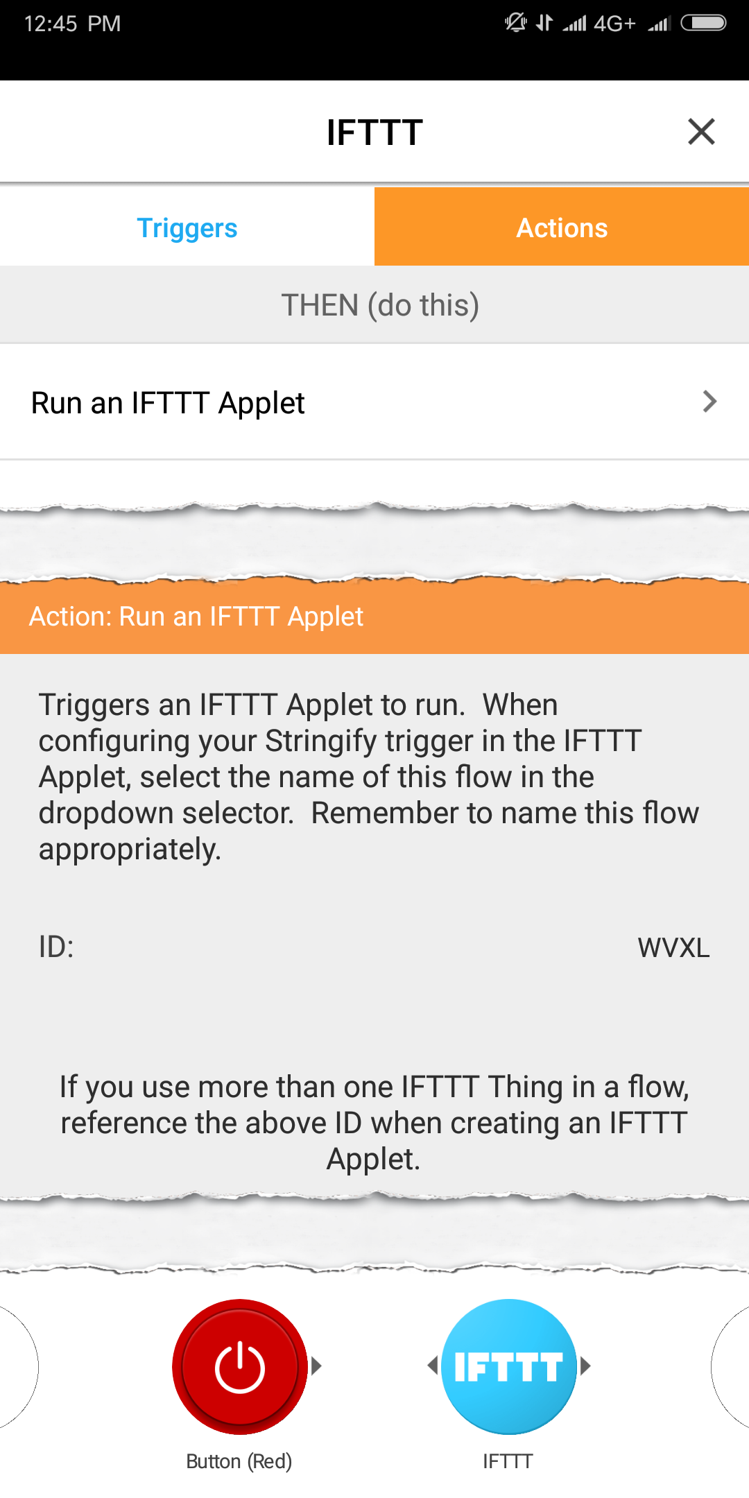 stringify ifttt thing trigger action configuration